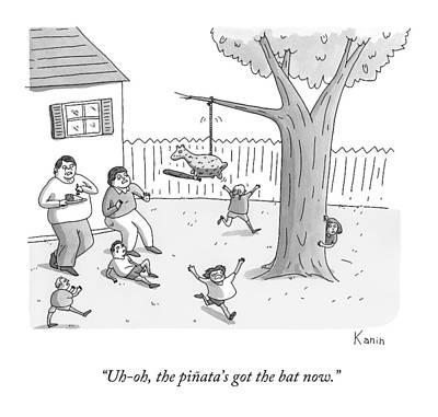 Children And Parents Run Away From A Pinata Art Print