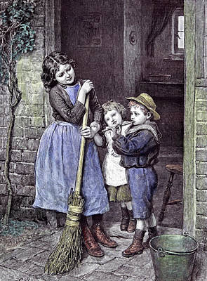 Joyful Drawing - Children And The Saturdays Purchase 1891 Straw Hat Broom by English School