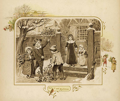 Children Arrive Home And Proudly Art Print by Mary Evans Picture Library