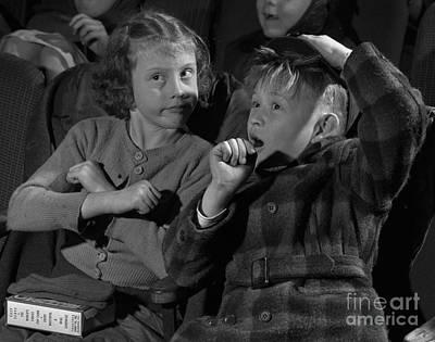 Children At A Film Matinee In 1946 Art Print