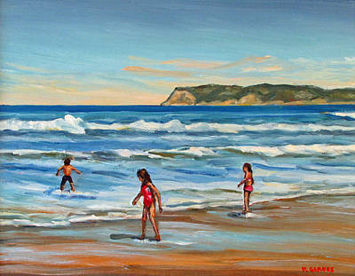 Seacape Painting - Children At Play Coronado Beach by Robert Gerdes
