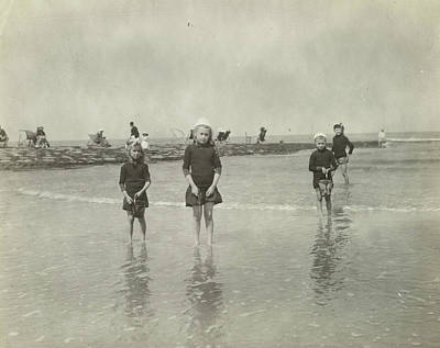 North Sea Drawing - Children At Sea North Sea, The Netherlands Or Germany by Artokoloro