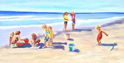 Painting - Children At The Beach by Joanne Killian