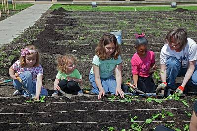 Gleaners Photograph - Children At Work In A Community Garden by Jim West