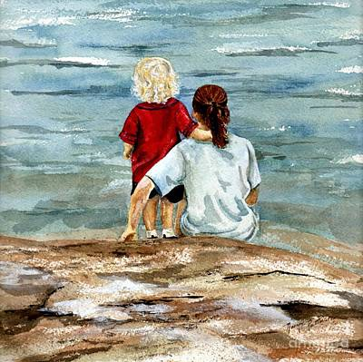 Painting - Children By The Sea 2 by Nancy Patterson