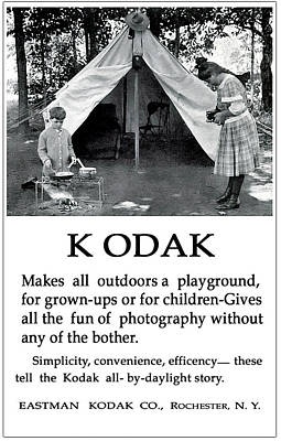 Photograph - Children  Camping. Circa 1913. by Unknown Photographer