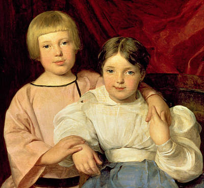 Red Drape Painting - Children by Ferdinand Georg Waldmuller