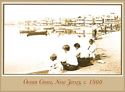 Fruits And Vegetables Still Life - Children Fishing Ocean Grove NJ c 1900 by A Macarthur Gurmankin