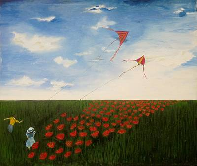 Painting - Children Flying Kites by Rejeena Niaz