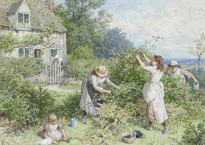 Myles Birket Foster Digital Art - Children Gathering Blackberries by Myles Birket Foster