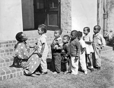 New Deal Photograph - Children Get School Inspection by Underwood Archives