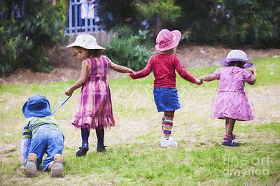 Children Holding Hands Art Print by Avalon Fine Art Photography