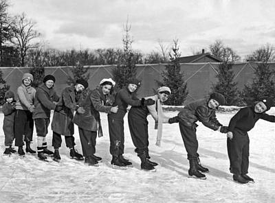 Highland Park Photograph - Children Ice Skating by Underwood Archives