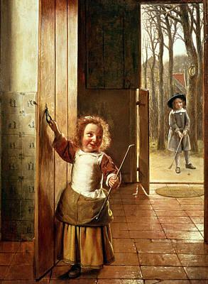 Children In A Doorway With Golf Sticks Art Print