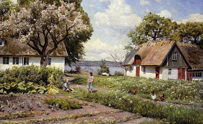 Cottage Country Painting - Children In A Farmyard by Peder Monsted
