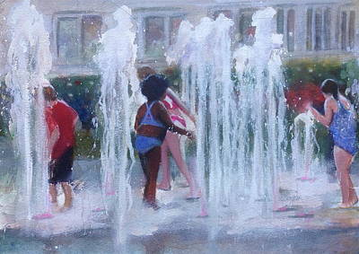 Painting - Children In Fountains by Gregory DeGroat