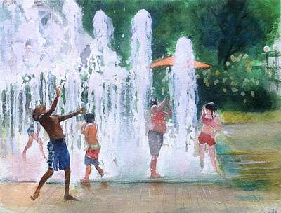 Children In Fountains II Original by Gregory DeGroat