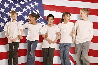 Children In Front Of American Flag Art Print by Don Hammond