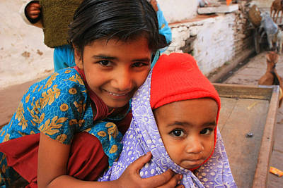 Children In Orchha India Art Print by Amanda Stadther
