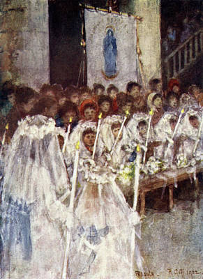 Communion Drawing - 'children Of Mary' Make Their  First by Mary Evans Picture Library