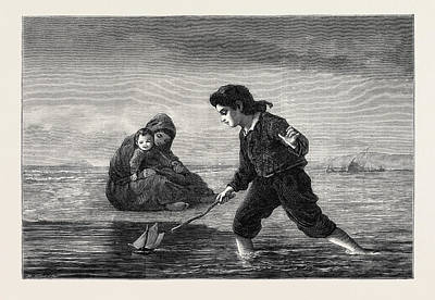 Water Colour Drawing - Children Of The Sea by Duncan, Lawrence (fl.1860-91), British
