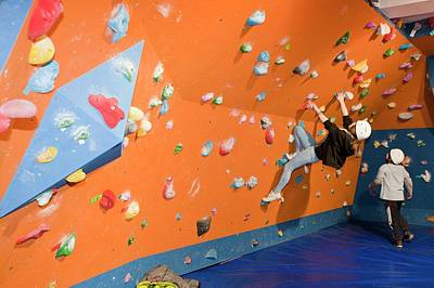 Overhang Photograph - Children On A Climbing Wall by Ashley Cooper