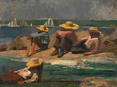 Winslow Homer Painting - Children On The Beach by Winslow Homer