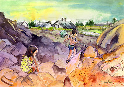 Children On The Rocks In Brittany Art Print by Miki De Goodaboom