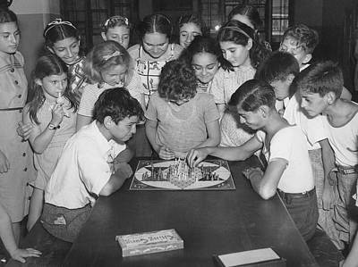 Board Game Photograph - Children Playing Game by Underwood Archives