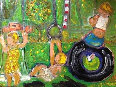 Swingset Painting - Children Playing In A Park 1961 by Sandra Maxwell