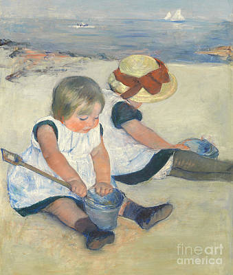 Water Play Painting - Children Playing On The Beach by Mary Stevenson Cassatt