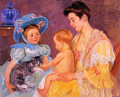 Children Playing With A Cat Art Print by Marry Cassatt