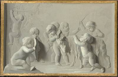 Grisaille Painting - Children Playing With A Goat by Style of Jacob de Wit