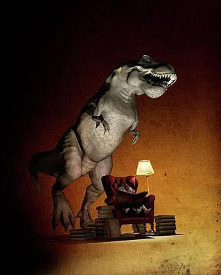 Children Reading About Dinosaurs Art Print