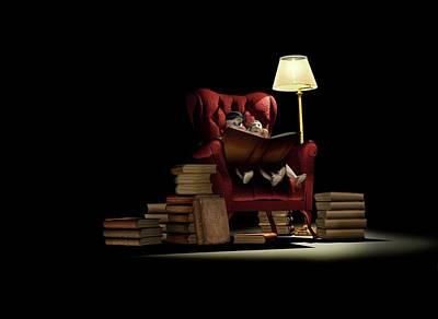 Children Reading At Night Art Print by Mikkel Juul Jensen