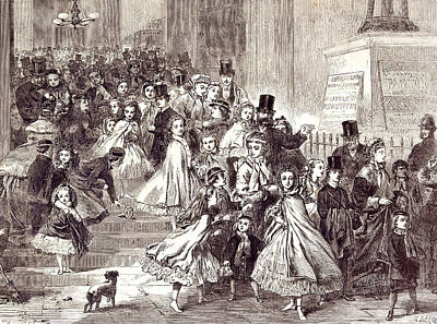 Children Returning From The Christmas Pantomime 1866 Art Print by English School
