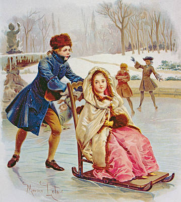 Wintry Drawing - Children Skating by Maurice Leloir
