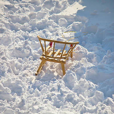 Photograph - Children Sledge In White Snow by Brch Photography