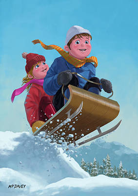 Children Snow Sleigh Ride Art Print by Martin Davey