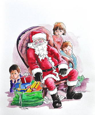 Children Patiently Waiting Up For Santa. Art Print