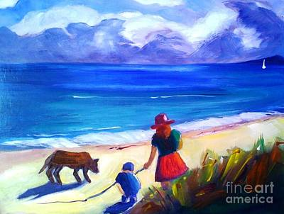 Art Print featuring the painting Children With Dog - Original Sold by Therese Alcorn