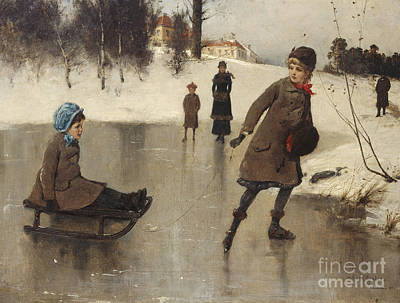Winter Sports Painting - Children With Sledge In Front Of Bogstad Farmbogs by Axel Ender