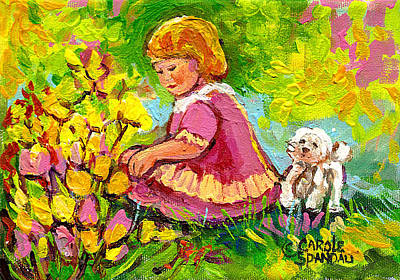 Children's Art - Little Girl With Puppy - Paintings For Children Art Print by Carole Spandau
