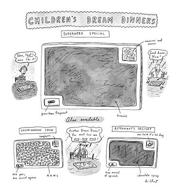 Children's Dream Dinners Superhero Special Title: Art Print by Roz Chast