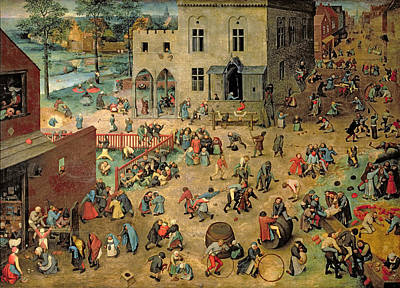 Childrens Games Kinderspiele, 1560 Oil On Panel Art Print