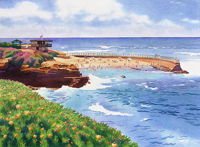 Station Painting - Children's Pool In La Jolla by Mary Helmreich