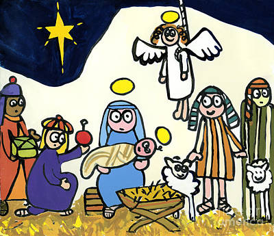 Naive Cartoon Painting - Children's School Nativity Play by Jane Freeman