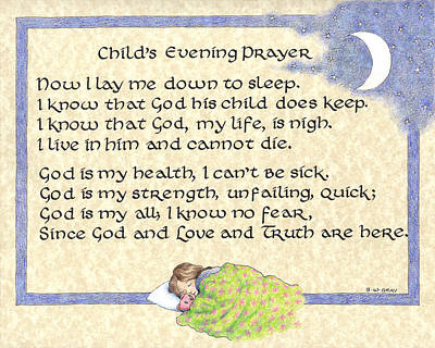 Drawing - Child's Evening Prayer by Betsy Gray