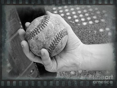 Sports Royalty-Free and Rights-Managed Images - Childs Play - Baseball Black and White by Ella Kaye Dickey