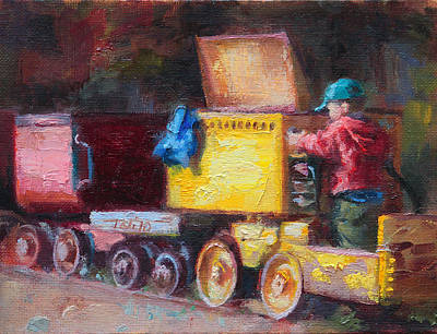 Painting - Child's Play - Gold Mine Train by Talya Johnson